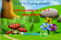 Counting up to 3 using animals math game, math game for ks1, ks1 and grade 1 students, numbers activities for kindergarten with games