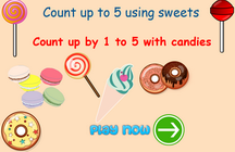 counting up to 5 game using candies, counting game for preschoolers and toddlers