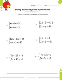 solving systems of linear equations by elimination worksheets