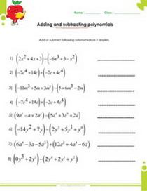 Adding and subtracting polynomials worksheets with answers