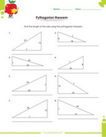 right triangles worksheet with answers, Pythagorean theorem applied to right triangles worksheet