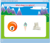Matching 3D shapes to real objects geometry game for kids, matching objects to spheres, cones, rectangular prisms, cubes, pyramids and more objects.