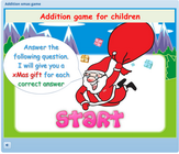 Santa claus addition xMas game for toddlers, preschoolers and first grade students, addition math game for children, single digit addition math game for kids