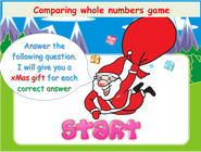 Whole numbers comparison game for children, comparing whole numbers using greater than, smaller than and equal sign comparison operators, how to order numbers by comparing them two by two, numbers ordering and sequencing holidays math game for grade 1