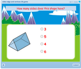 Counting sides, vertices, edges of 3D shapes math game for children, differentiating between edge, vertex, side and face of a figure, reinforcing 3D view of an object.