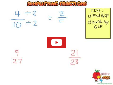 Fractions simplifiation video tutorial for students, learn how to simplifying fractions using the GCF method